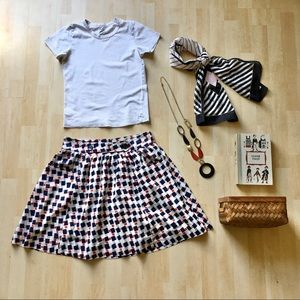 Tulle 100% cotton retro print full skirt pockets M